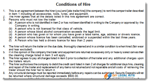 Camper TrailerHire Contract Sample 1