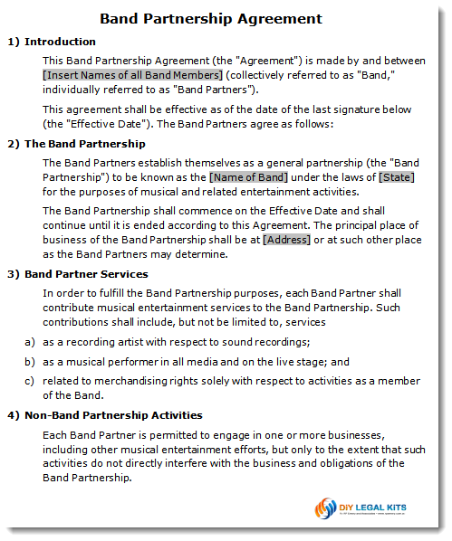 Band Partnership Agreement Contract - Partnership legal documents