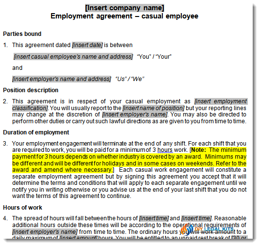 Casual employment agreement sample