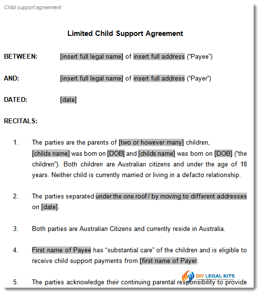 sample document excerpt click to view larger images limited child support agreement