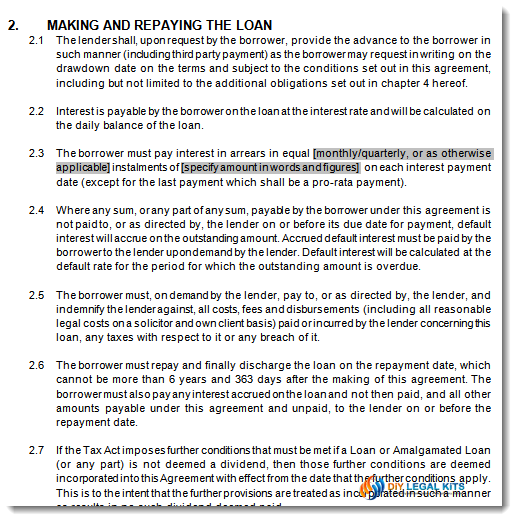 Division 7a Div7a Company Loan Agreement Template