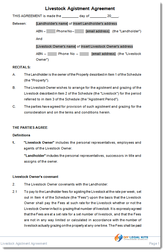 Livestock Agistment agreement sample