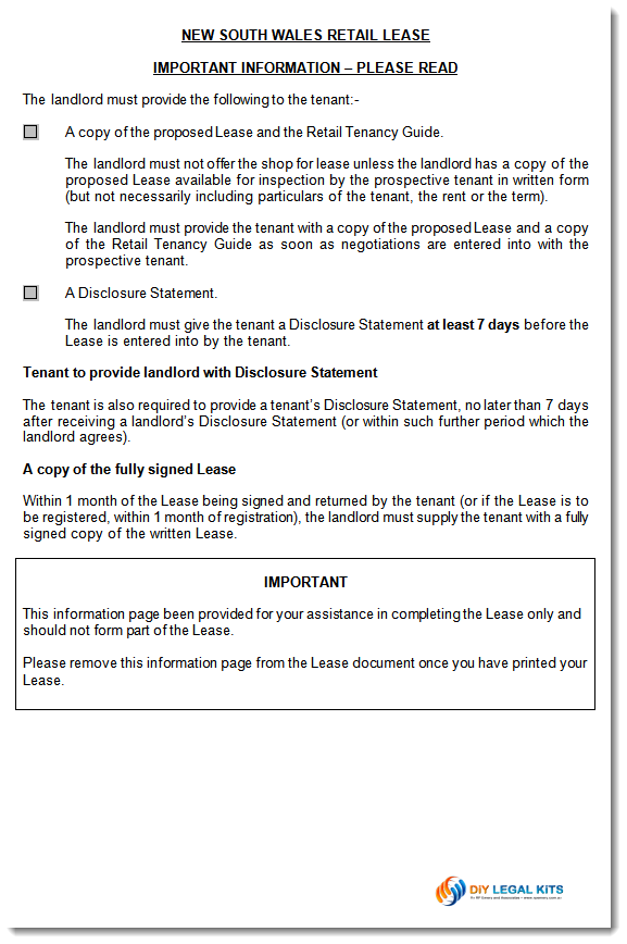 NSW Retail Shop Lease agreement Disclosure Statement Commercial rental