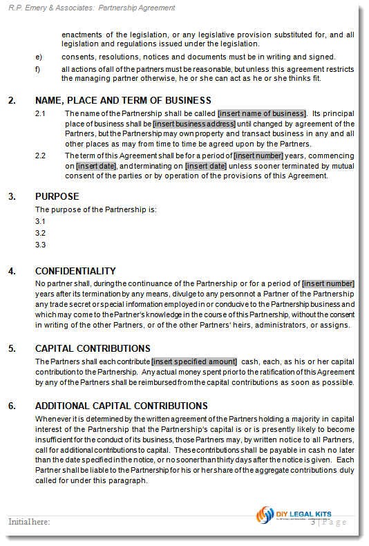 General Partnership Agreement Business Partners Contract
