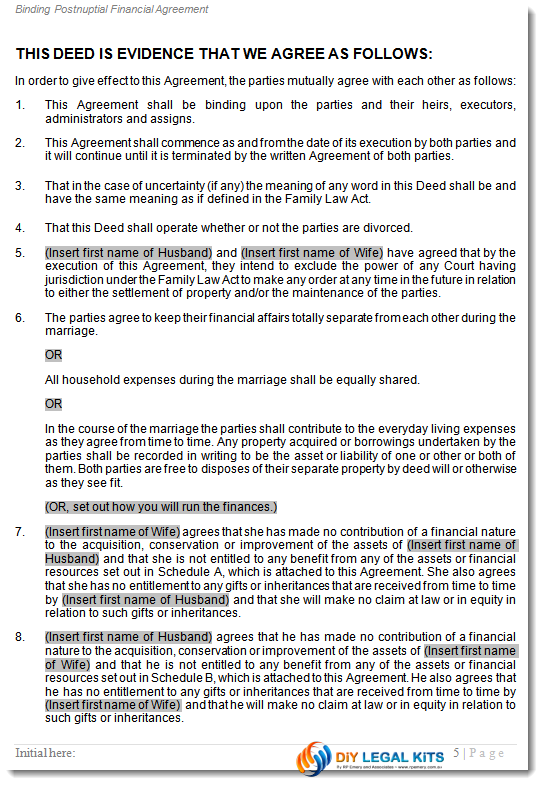 Post Nuptial Marital Agreement Married Sect 90c