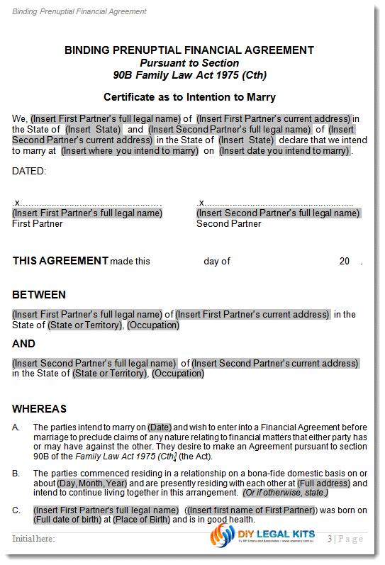 Prenuptial Agreement Prenup Contract Prenuptual Financial Agreement