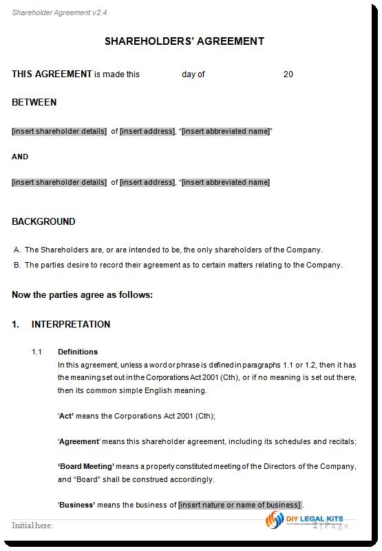 shareholder agreement checklist