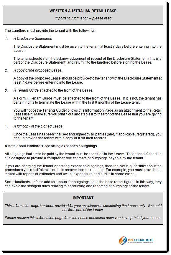 retail lease agreement western australia